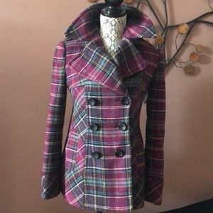 Moda International Plaid Wool Purple Coat Size XS